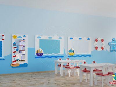 Anaokulu Mobilyası Mavi Deniz Feneri Dolap Sınıf Konsepti, Anaokulu Fabrikası Ve Eğitim Araçları; Can Simidi Boy ölçüm Cetveli, Yelkenli Duvar Panosu, Yelkenli Yazı Tahtası, Deniz Feneri Boy Aynası Tasarımı.