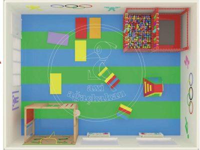 Anaokulu Iç Mekan Oyun Ve Aktivite Alanı Iç Mekan Oyun Alanı 3D üstten Yerleşim Planı, Oyun Top Havuzu, Zıplama Minderi Ve Tırmanma Parkuru