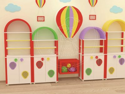 Anaokulu Mobilyası Balon Dolap Sınıf Konsepti; Ağaçkakan Mobilya Ve Eğitim Araçları Anaokulu Fabrikası; Uçan Balon Dolap Grubu Tasarımı.