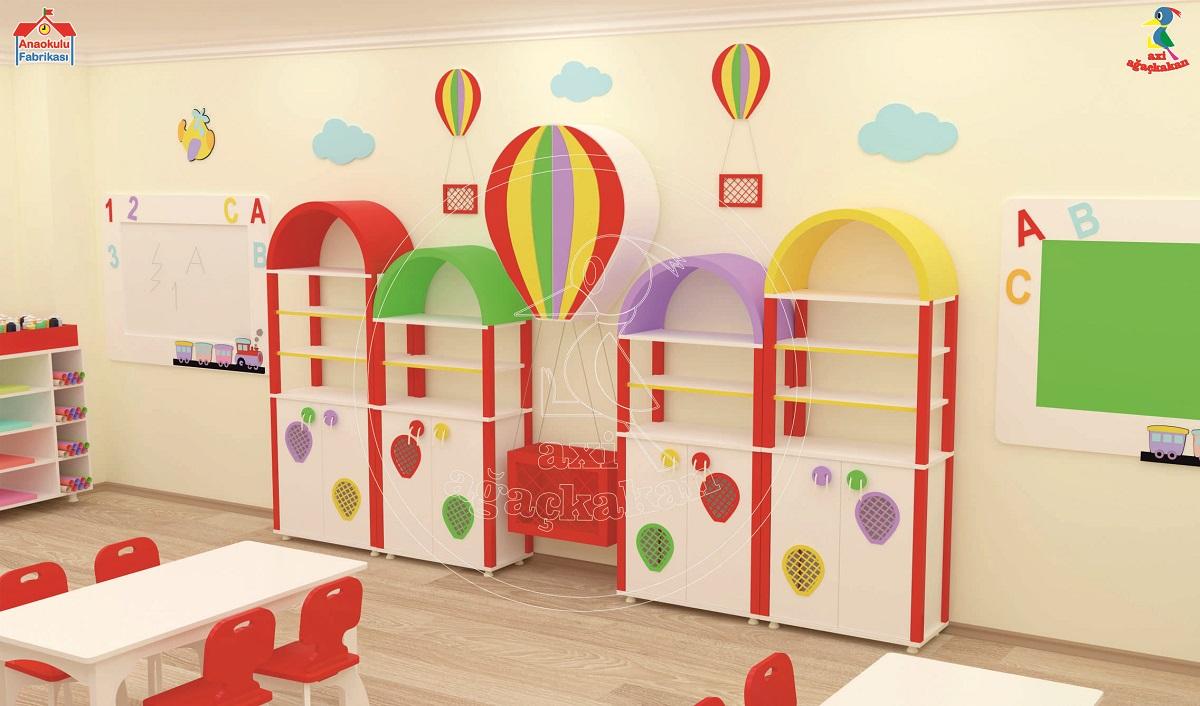 Anaokulu mobilyası balon dolap sınıf konsepti; ağaçkakan mobilya ve eğitim araçları anaokulu fabrikası; uçan balon dolap grubu, ABC tren figürlü pano, ABC tren yazı tahtası, tasarımı.